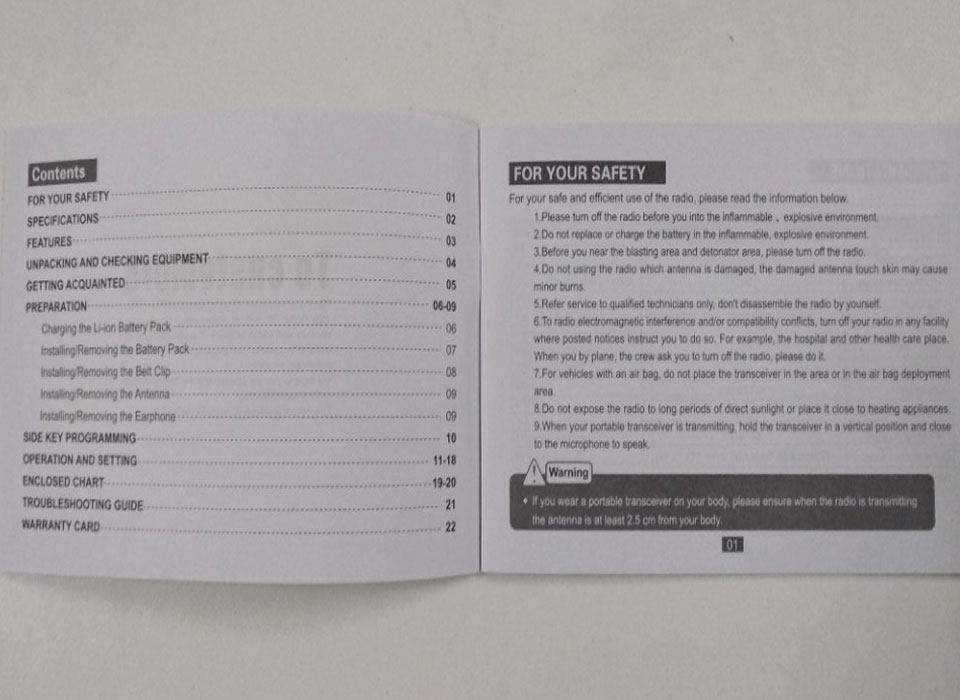 Mục lục sách hướng dẫn sử dụng bộ đàm