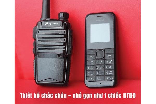 Bộ đàm HYPERSIA H1 có thiết kế chắc chắn, nhỏ gọn như 1 chiếc điện thoại di động.