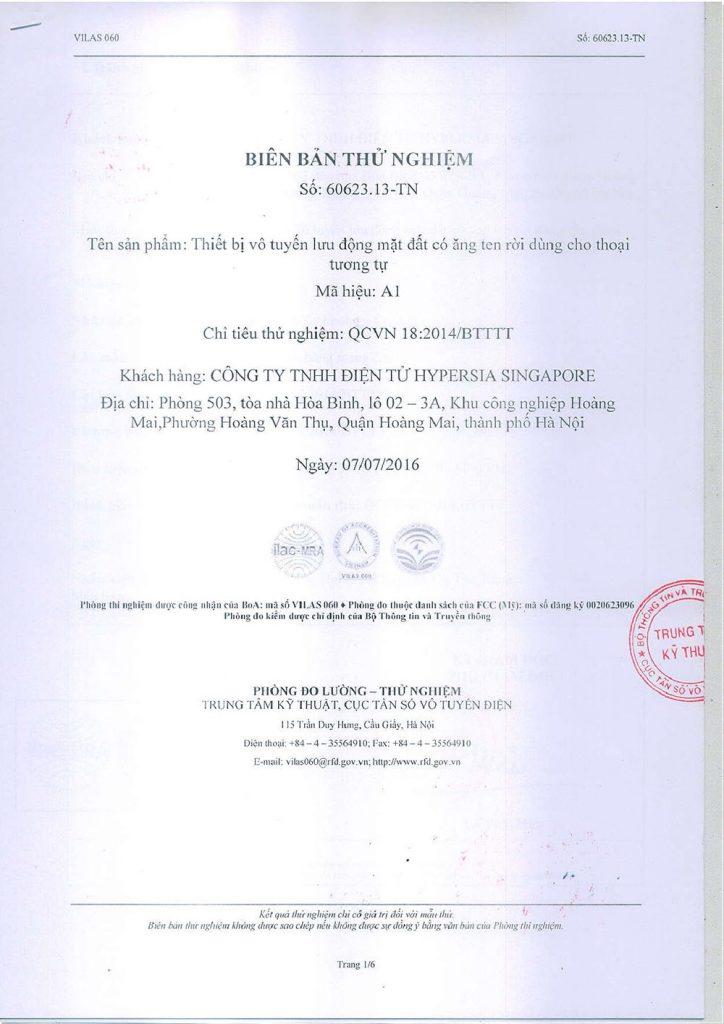 Chứng nhận chất lượng bộ đàm Hypersia A1