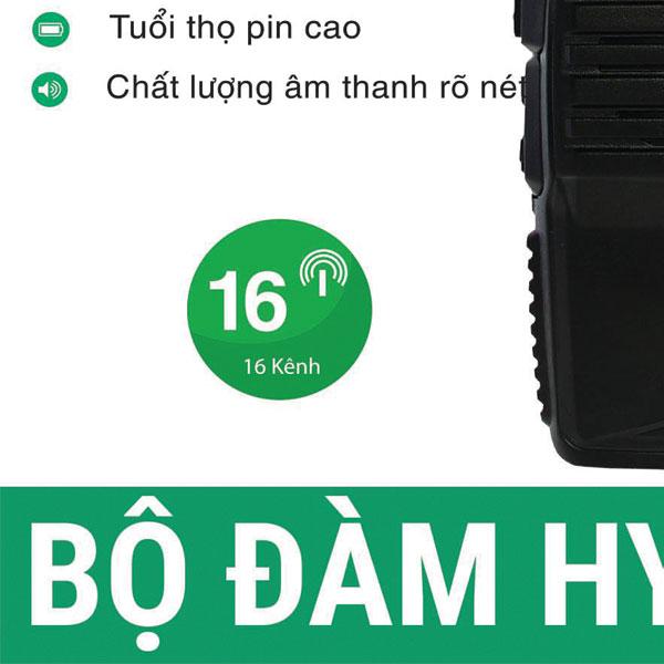 Bộ đàm H1 trang bị Pin dung lượng lớn lên đến 2000mAh. cho khả năng đàm thoại cả ngày không cần sạc. Số lượng kênh 16 kênh cho khả năng mở rộng kết nối tạo nhóm hoạt động hiệu quả