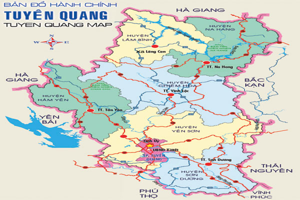 Bản đồ vị trí địa lý Tuyên Quang